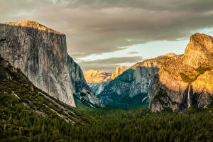 Картинки Парки Штаты Пейзаж Йосемити Скале Sierra Nevada Природа
