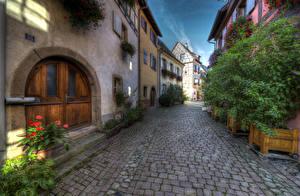 Фото Франция Здания HDR Улице Тротуар Eguisheim Elsass Города