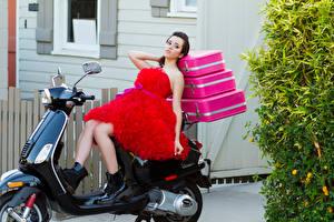 Обои Платье Чемодан Megan Nicole Знаменитости Девушки Мотоциклы фото