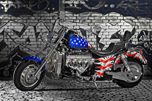 Картинка Граффити США Флаг Кирпичный Стена Мотоциклы
