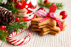 Картинки Рождество Сладости Печенье Леденцы Бантик Шишки Candy cane Пища