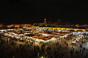 Обои Марокко Люди Ночь Marrakesh город