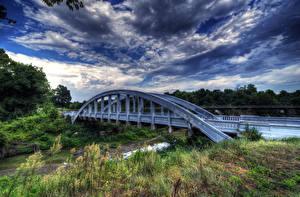 Фото Америка Речка Мосты Небо HDR Кустов Облака Kansas Природа