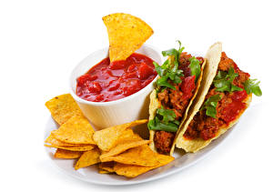 Фото Фастфуд Мясные продукты Чипсы Кетчупом Mexican tacos
