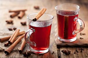 Фотографии Напитки Чай Корица Двое Кружки Еда