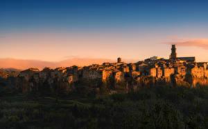 Обои Италия Небо Дома pitigliano Города