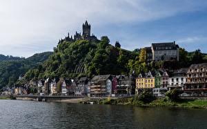 Фото Германия Речка Замки Берег Кохем Moselle River