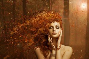 Фотографии Волосы Мейкап Листья Рыжая AUTUMN LEAVES Девушки