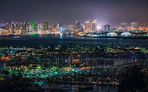 Фотографии Штаты Здания Пристань Сан-Диего Мегаполис В ночи Города