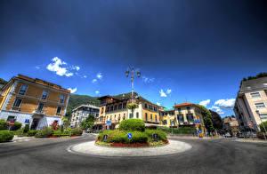 Фотографии Италия Дома Небо Улица Уличные фонари Кусты HDR Cernobbio Города