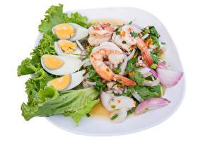 Фотографии Морепродукты Креветки Лук репчатый Яйца Продукты питания