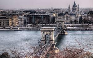 Фотографии Венгрия Мосты Здания Будапешт Chain Bridge Города