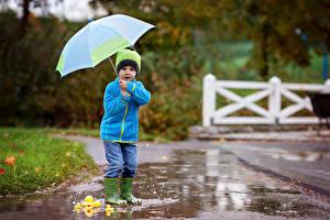 Обои Дождь Мальчики Зонт Куртка Шапки Сапоги Дети