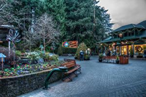 Картинка Канада Парки Здания Рождество Скамья Электрическая гирлянда Butchart Gardens Природа Города