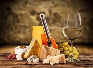 Картинки Вино Сыры Виноград Бокалы Еда