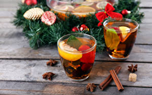 Картинки Рождество Чай Корица Стакан Ветвь Еда