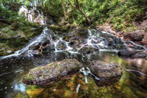 Обои США Водопады Камни HDR Hungarian Falls Michigan Природа фото