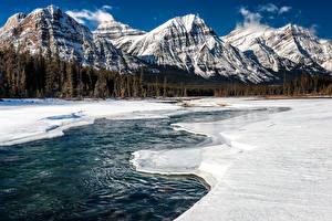 Фотография Канада Парки Горы Зимние Пейзаж Снег Джаспер парк Природа