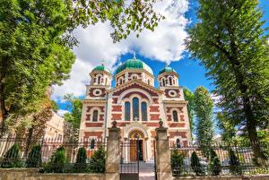 Фотография Украина Храм Львов Забором Дерево Города