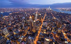 Фотография Америка Дома Нью-Йорк Манхэттен Сверху Мегаполиса город