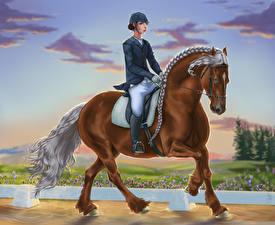Картинка Лошади Рисованные Конный спорт Спорт Девушки Животные