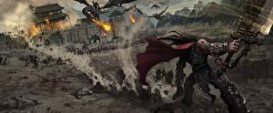 Обои для рабочего стола The World of Legend Битва Воины Игры Фэнтези