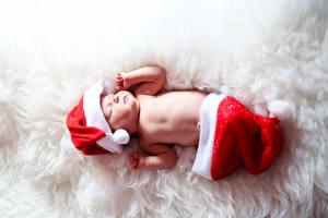 Фотография Праздники Новый год Младенец Шапки Спит Дети