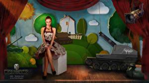 Фотография World of Tanks Танки Рисованные Nikita Bolyakov компьютерная игра Девушки
