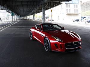 Картинки Jaguar Мосты Красная 2014 F-Type S Coupe US-spec авто