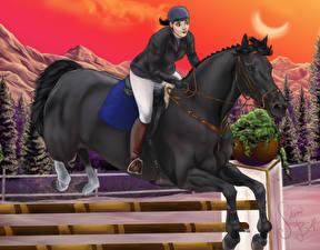 Картинки Лошади Рисованные Конный спорт Прыжок Спорт Девушки Животные