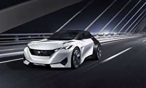 Фотографии Peugeot Тюнинг Белые Едущий 2015 Peugeot Fractal машины
