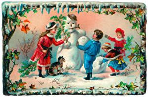 Фотография Рисованные Снеговики Девочки Мальчик Дети