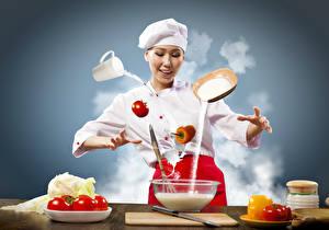 Фото Овощи Томаты Перец овощной Капуста Униформа Повар Пища Девушки