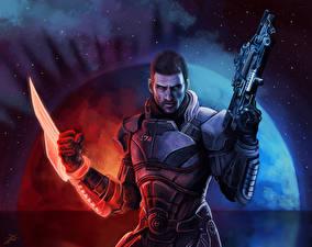 Фотография Mass Effect Мужчины Shepard Воители Фэнтези