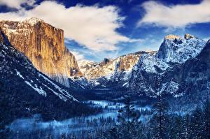 Картинки США Парки Горы Леса Зимние HDR Йосемити Облака Природа
