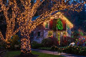 Картинка Канада Праздники Новый год Здания Ванкувер Ночные Гирлянда Деревья Кусты Butchart Gardens christmas Города