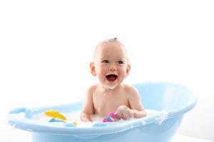 Фотография Младенца Ванная Улыбается Дети
