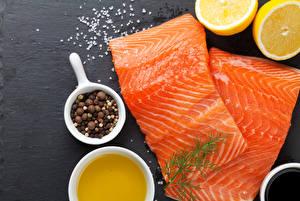 Картинки Морепродукты Рыба Пряности Лимоны Продукты питания
