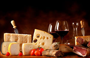 Картинка Сыры Вино Бокалы Пища