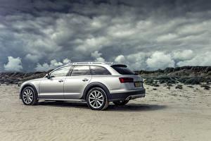 Фотография Audi Серебристый Металлик Облака Сбоку 2015 Audi A6 Allroad Sport машины