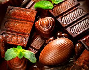 Фотография Сладости Шоколад Вблизи Листья Пища