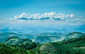 Фото Бразилия Горы Поля Небо Пейзаж Облака Caparaó Природа