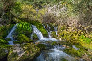 Картинки Водопады Камень Мхом Природа
