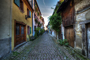 Фото Франция Дома HDR Улица Eguisheim Elsass Города