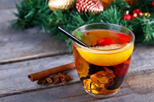 Картинка Рождество Напитки Чай Лимоны Корица Пища