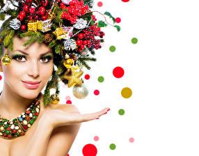 Фотография Рождество Лицо Макияж Ветки Шишки Девушки