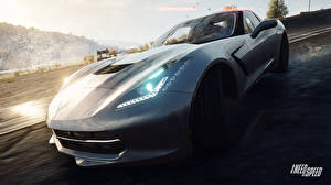 Фотографии Need for Speed Chevrolet Фары Rivals 2013 NFSR nfs Corvette C7 Stingray компьютерная игра Автомобили