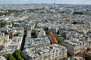 Обои Франция Дома Париж Сверху Мегаполиса город
