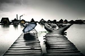 Фотография Озеро Пирсы Зонт Hungary Bokod Природа