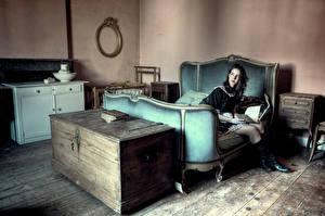 Фотографии Комната Кровать Старый Девушки